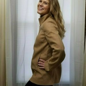 J Crew Village Coat Short Wool Blend Camel